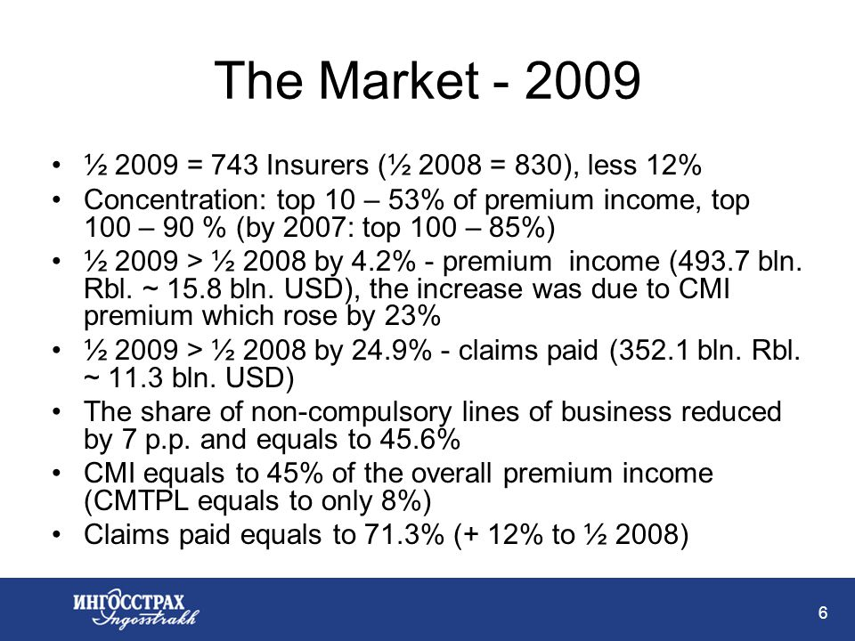 6 The Market - 2009 ½ 2009 = 743 Insurers (½ 2008 = 830), less 12% Concentration: top 10 – 53% of premium income, top 100 – 90 % (by 2007: top 100 – 85%) ½ 2009 > ½ 2008 by 4.2% - premium income (493.7 bln.