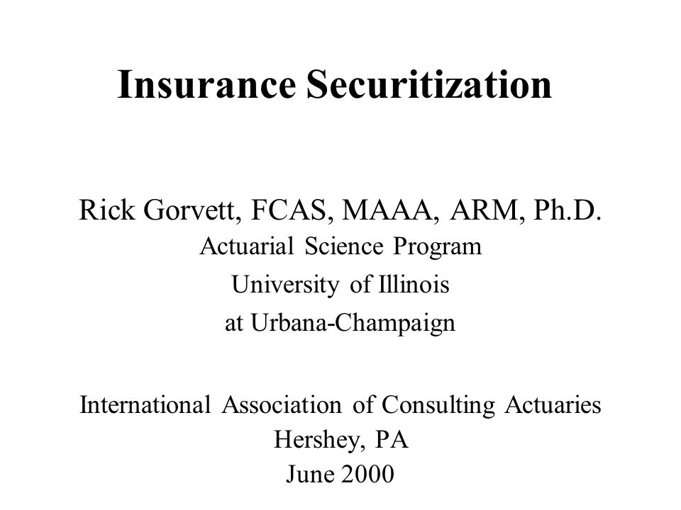 Types of Insurance Instruments Those that transfer risk –Reinsurance –Exchange-traded derivatives –Swaps –Catastrophe bonds Those that provide contingent capital –Letter of credit –Contingent surplus notes –Catastrophe equity puts