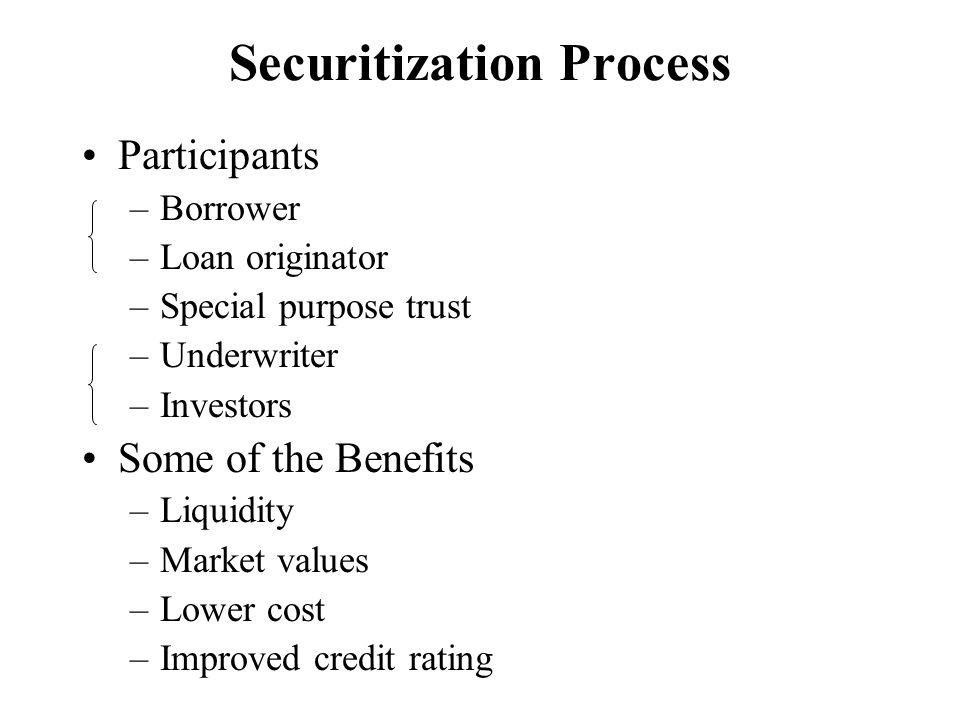 Securitization Process Participants –Borrower –Loan originator –Special purpose trust –Underwriter –Investors Some of the Benefits –Liquidity –Market