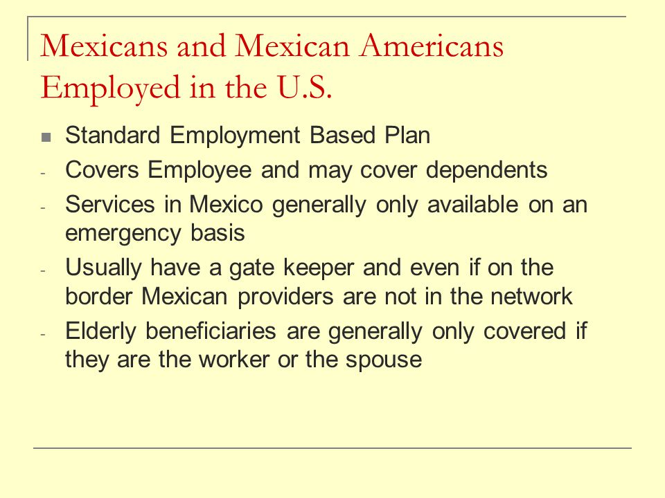 Mexicans and Mexican Americans Employed in the U.S.