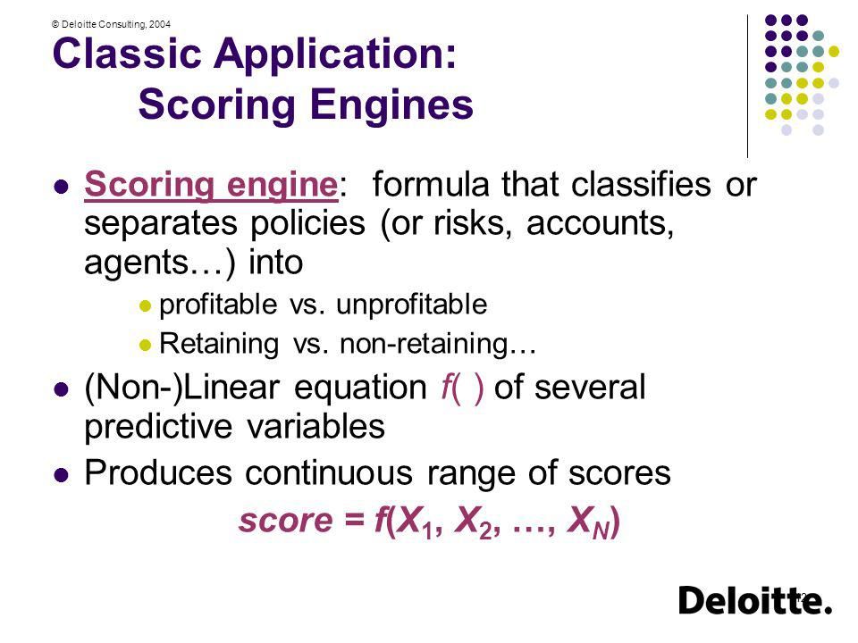 © Deloitte Consulting, 2004 12 Classic Application: Scoring Engines Scoring engine: formula that classifies or separates policies (or risks, accounts,