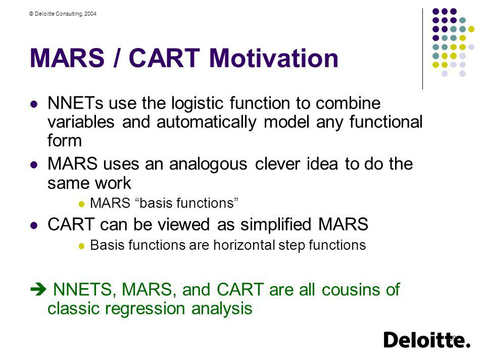 © Deloitte Consulting, 2004 39 MARS / CART Motivation NNETs use the logistic function to combine variables and automatically model any functional form