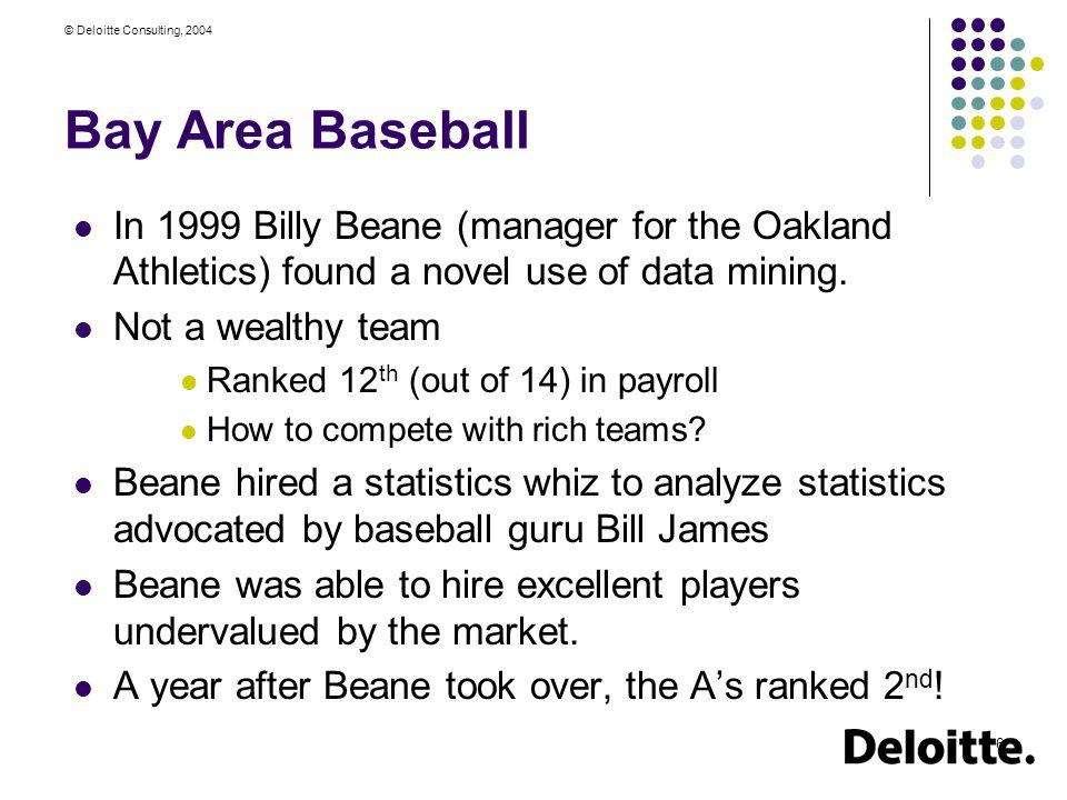 © Deloitte Consulting, 2004 6 Bay Area Baseball In 1999 Billy Beane (manager for the Oakland Athletics) found a novel use of data mining. Not a wealth