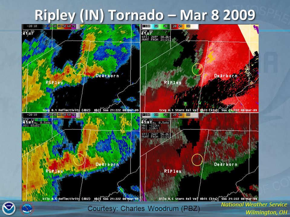 National Weather Service Wilmington, OH Ripley (IN) Tornado – Mar 8 2009 Courtesy: Charles Woodrum (PBZ)