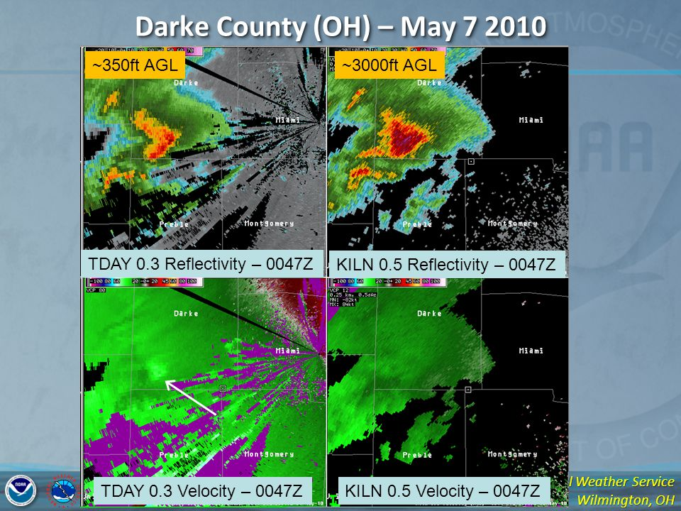 National Weather Service Wilmington, OH Darke County (OH) – May 7 2010 TDAY 0.3 Reflectivity – 0047Z KILN 0.5 Reflectivity – 0047Z TDAY 0.3 Velocity – 0047ZKILN 0.5 Velocity – 0047Z ~350ft AGL~3000ft AGL