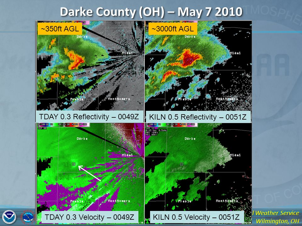 National Weather Service Wilmington, OH Darke County (OH) – May 7 2010 TDAY 0.3 Reflectivity – 0049Z KILN 0.5 Reflectivity – 0051Z TDAY 0.3 Velocity – 0049ZKILN 0.5 Velocity – 0051Z ~350ft AGL~3000ft AGL