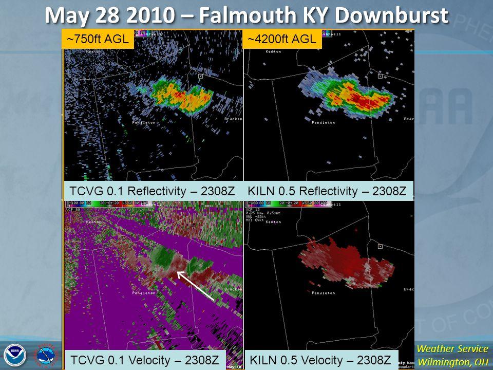 National Weather Service Wilmington, OH May 28 2010 – Falmouth KY Downburst TCVG 0.1 Reflectivity – 2308Z TCVG 0.1 Velocity – 2308Z KILN 0.5 Reflectivity – 2308Z KILN 0.5 Velocity – 2308Z ~750ft AGL~4200ft AGL