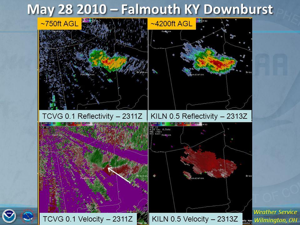 National Weather Service Wilmington, OH May 28 2010 – Falmouth KY Downburst TCVG 0.1 Reflectivity – 2311ZKILN 0.5 Reflectivity – 2313Z TCVG 0.1 Velocity – 2311ZKILN 0.5 Velocity – 2313Z ~750ft AGL~4200ft AGL