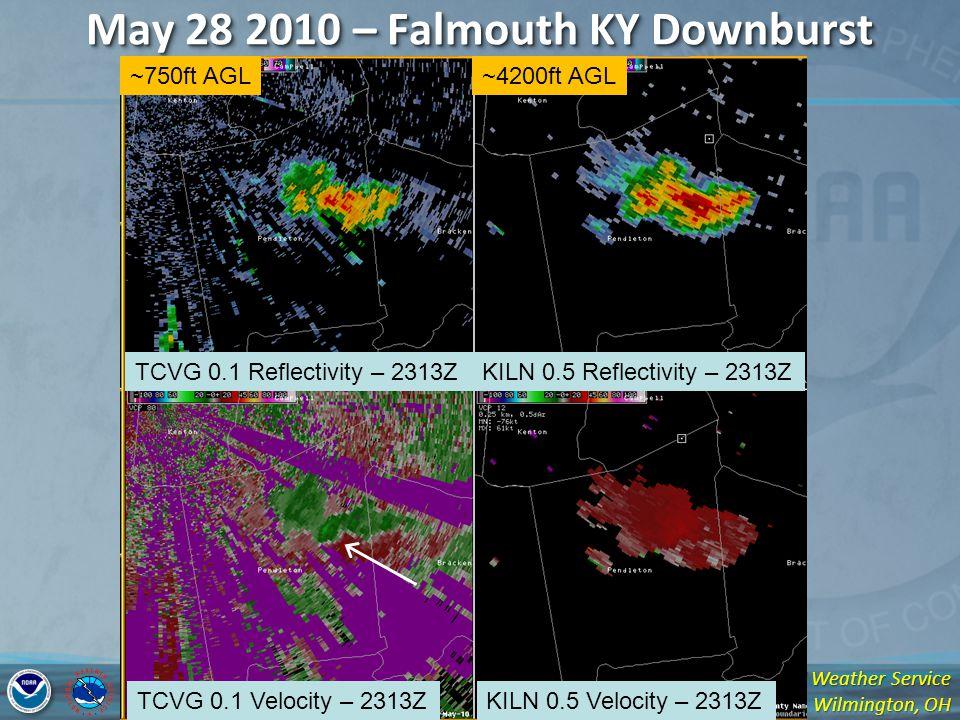 National Weather Service Wilmington, OH May 28 2010 – Falmouth KY Downburst TCVG 0.1 Reflectivity – 2313ZKILN 0.5 Reflectivity – 2313Z TCVG 0.1 Velocity – 2313ZKILN 0.5 Velocity – 2313Z ~750ft AGL~4200ft AGL