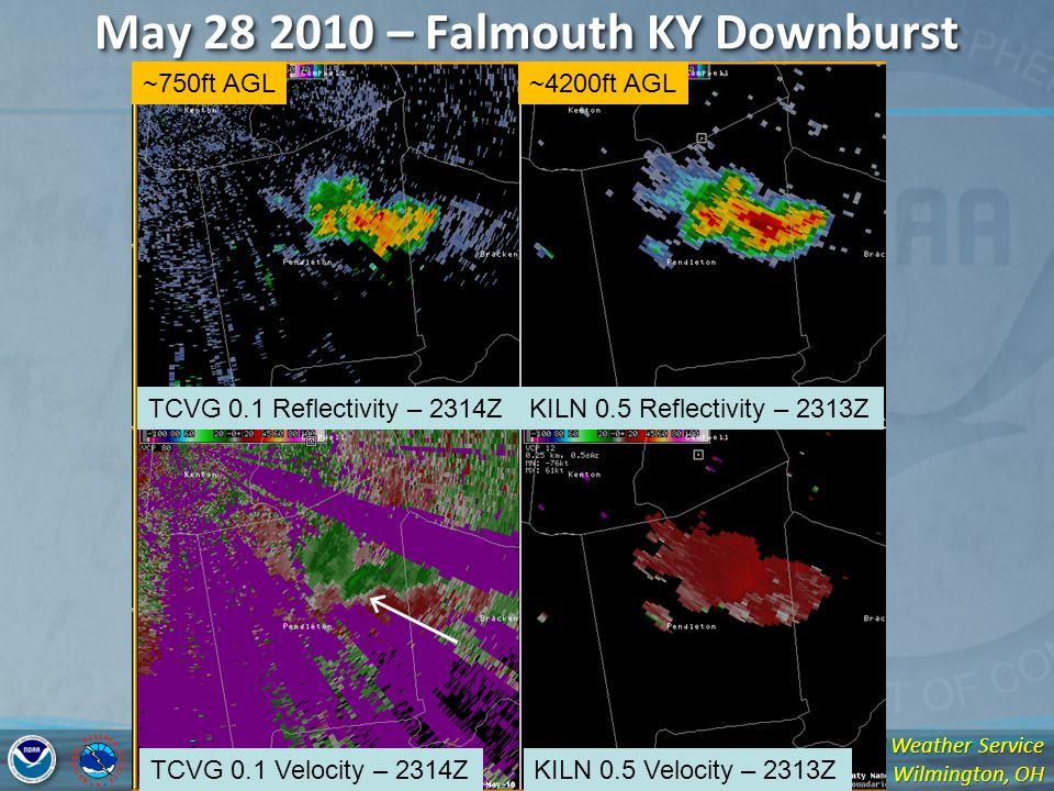 National Weather Service Wilmington, OH May 28 2010 – Falmouth KY Downburst TCVG 0.1 Reflectivity – 2314ZKILN 0.5 Reflectivity – 2313Z TCVG 0.1 Velocity – 2314ZKILN 0.5 Velocity – 2313Z ~750ft AGL~4200ft AGL