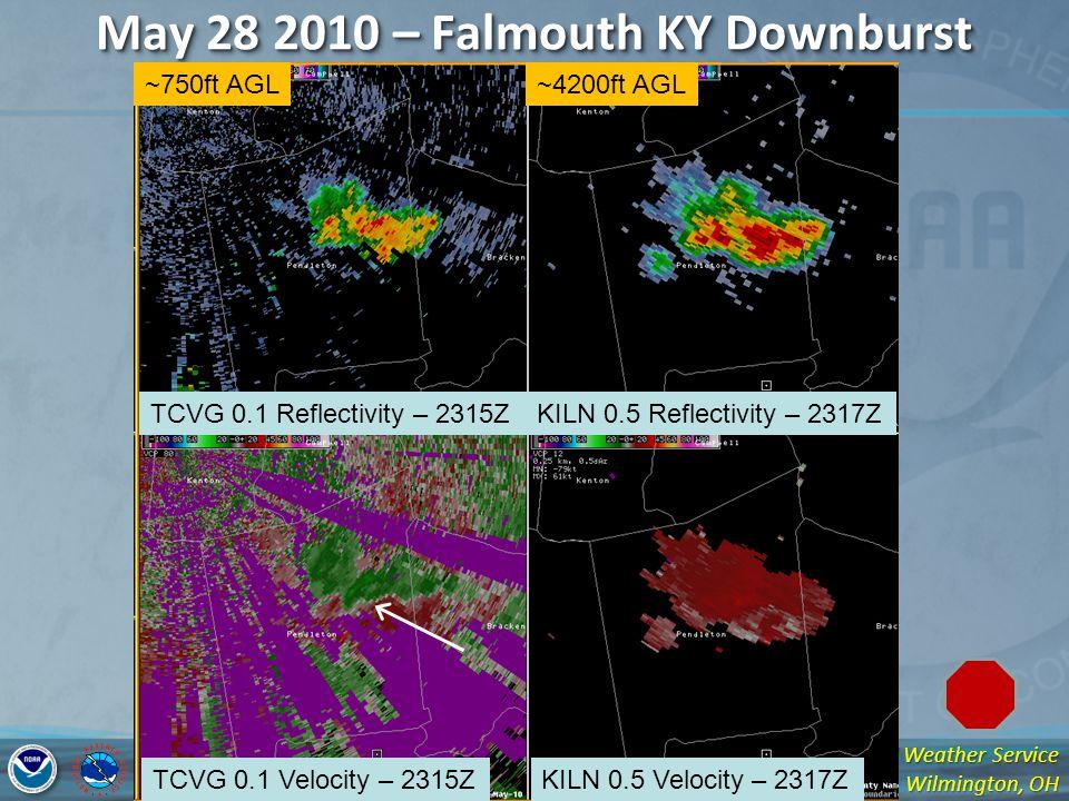 National Weather Service Wilmington, OH May 28 2010 – Falmouth KY Downburst TCVG 0.1 Reflectivity – 2315ZKILN 0.5 Reflectivity – 2317Z TCVG 0.1 Velocity – 2315ZKILN 0.5 Velocity – 2317Z ~750ft AGL~4200ft AGL