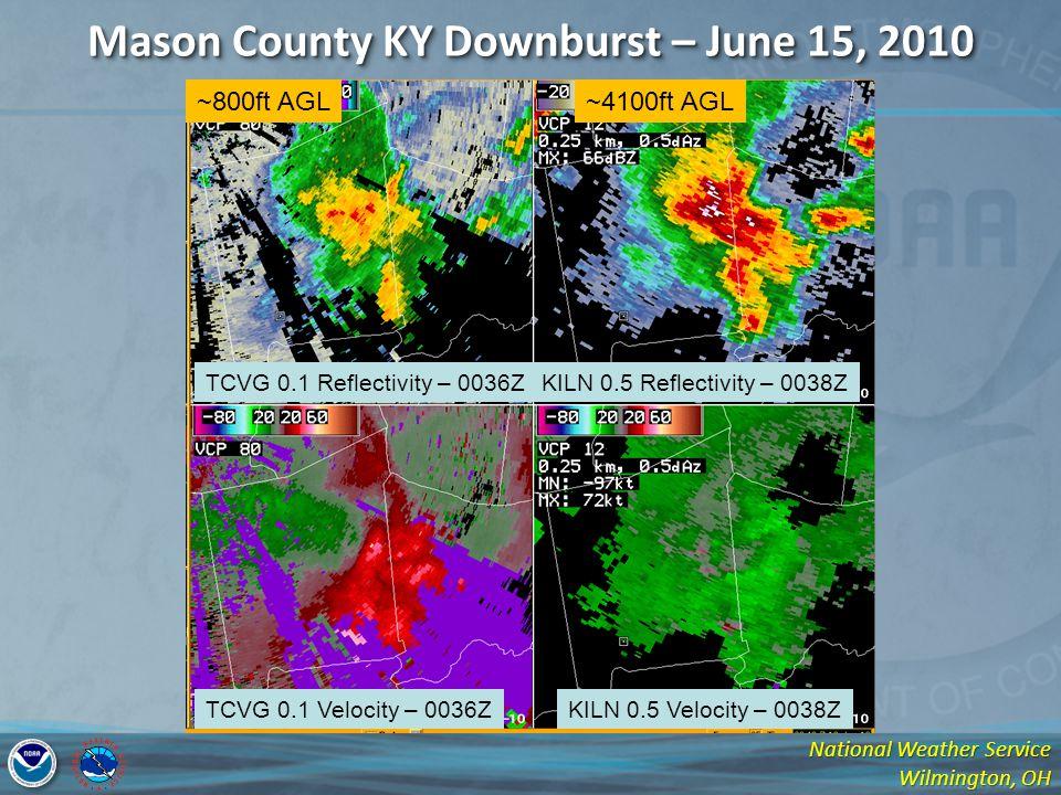 National Weather Service Wilmington, OH Mason County KY Downburst – June 15, 2010 TCVG 0.1 Reflectivity – 0036ZKILN 0.5 Reflectivity – 0038Z TCVG 0.1 Velocity – 0036ZKILN 0.5 Velocity – 0038Z ~800ft AGL~4100ft AGL