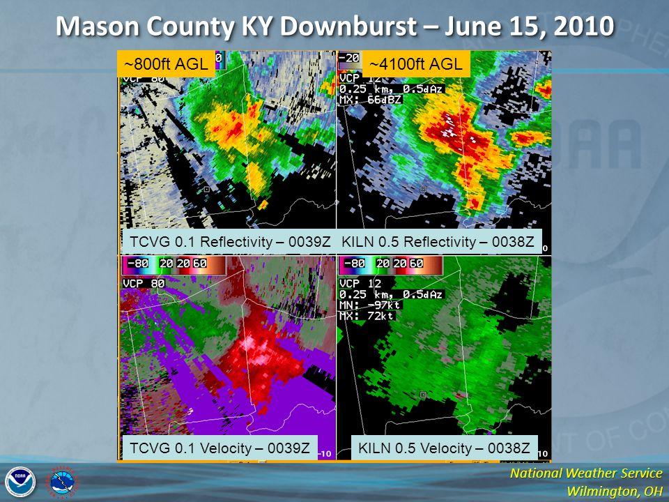 National Weather Service Wilmington, OH Mason County KY Downburst – June 15, 2010 TCVG 0.1 Reflectivity – 0039ZKILN 0.5 Reflectivity – 0038Z TCVG 0.1 Velocity – 0039ZKILN 0.5 Velocity – 0038Z ~800ft AGL~4100ft AGL