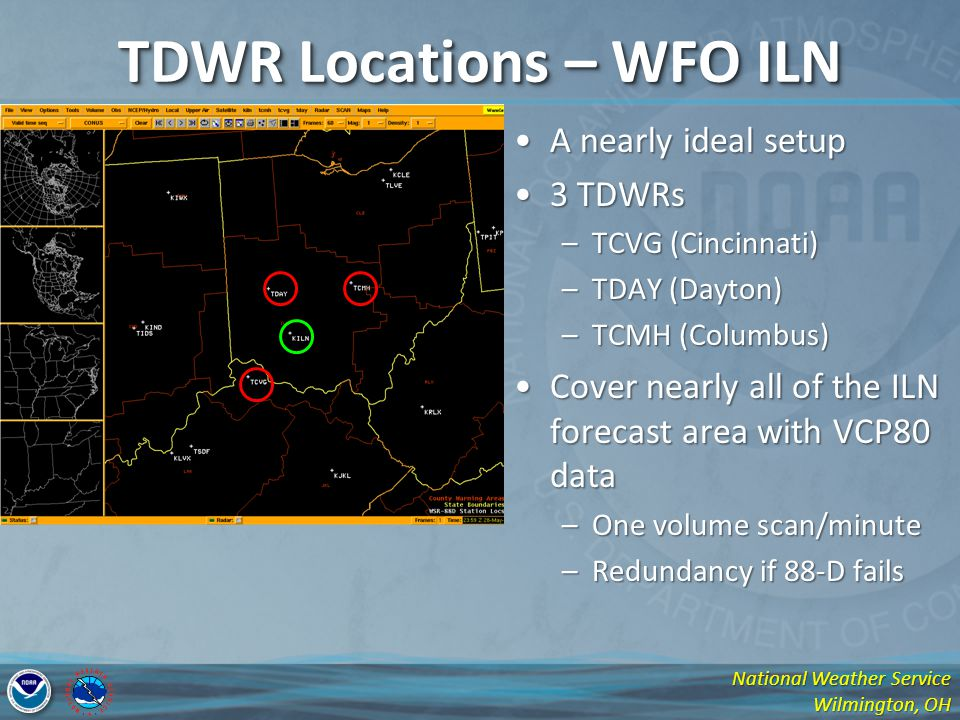 National Weather Service Wilmington, OH TDWR Locations – WFO ILN A nearly ideal setupA nearly ideal setup 3 TDWRs3 TDWRs –TCVG (Cincinnati) –TDAY (Day
