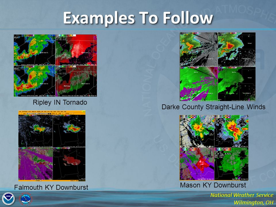 National Weather Service Wilmington, OH Examples To Follow Falmouth KY Downburst Ripley IN Tornado Darke County Straight-Line Winds Mason KY Downburst