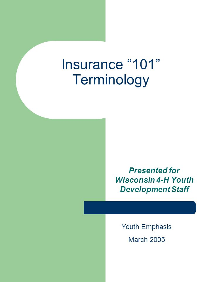 Insurance 101 Terminology Presented for Wisconsin 4-H Youth Development Staff Youth Emphasis March 2005