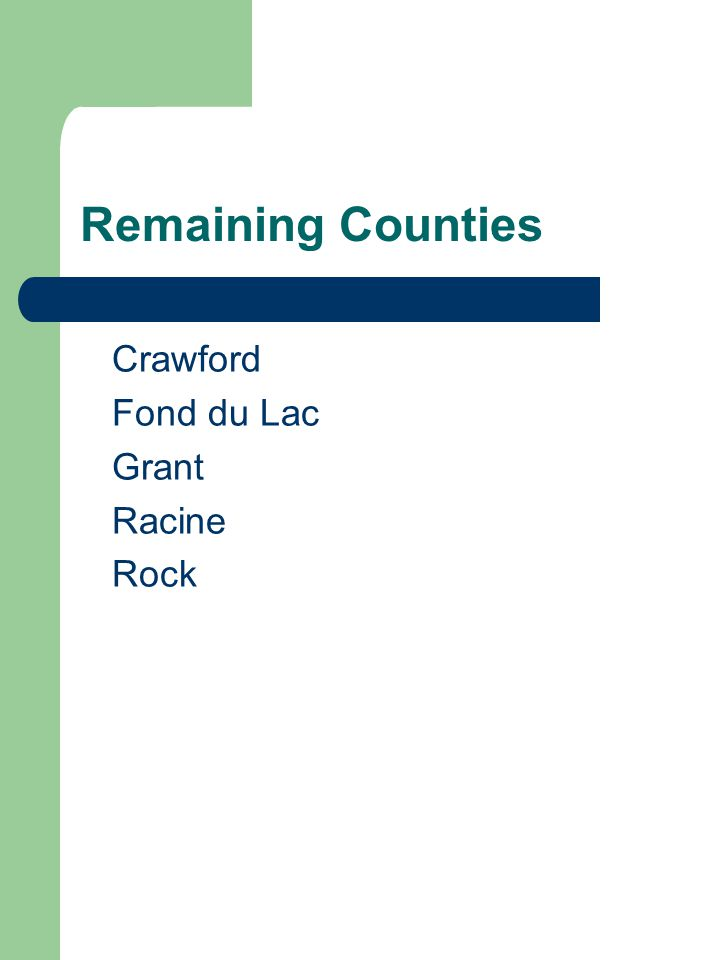 Remaining Counties Crawford Fond du Lac Grant Racine Rock