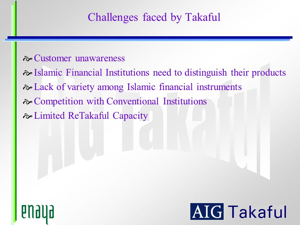 Challenges faced by Takaful Customer unawareness Islamic Financial Institutions need to distinguish their products Lack of variety among Islamic financial instruments Competition with Conventional Institutions Limited ReTakaful Capacity