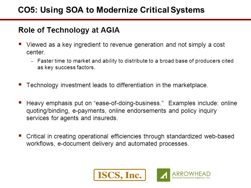 Role of Technology at AGIA Viewed as a key ingredient to revenue generation and not simply a cost center.