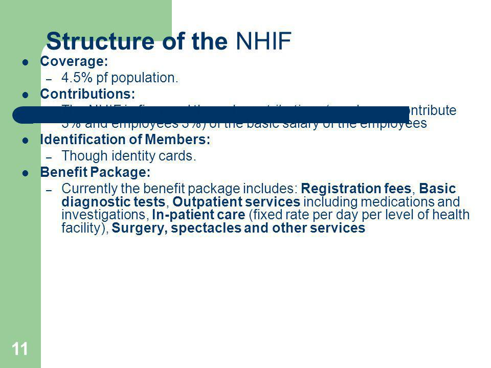 11 Structure of the NHIF Coverage: – 4.5% pf population. Contributions: – The NHIF is financed through contributions (employers contribute 3% and empl