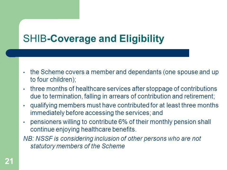 21 SHIB-Coverage and Eligibility the Scheme covers a member and dependants (one spouse and up to four children); three months of healthcare services a