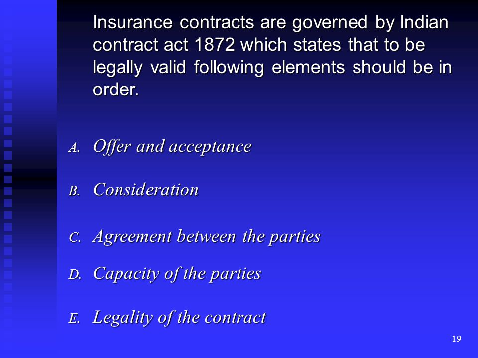 18 CONTRACT OF INSURANCE In between the insured and insurer INSURED:-Party effecting insurance, (Individual, Company, Firm, Corporate body etc., with legal status) INSURER:-Party granting the protection under an insurance policy.