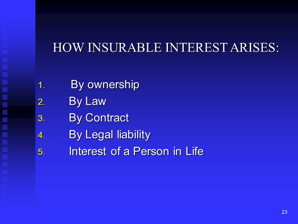 22 INSURABLE INTREST In nutshell if property is the subject matter of insurance then the subject matter of insurance contract is the insureds pecuniary interest in that property.