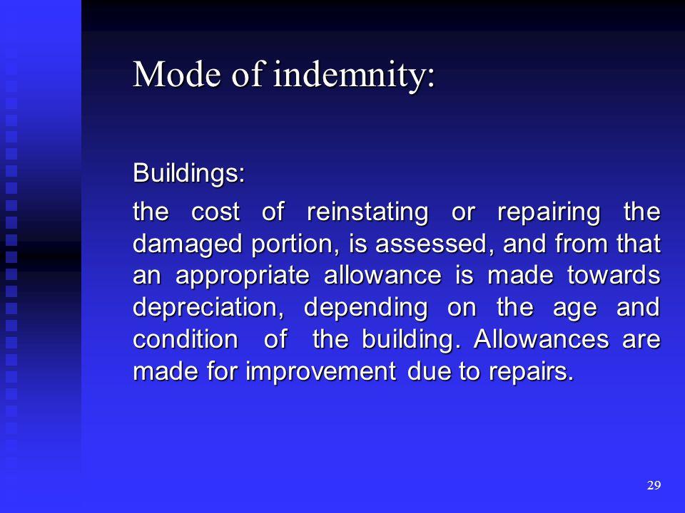28 Methods of indemnification: 1. Cash payment 2. Repair 3. Replacement 4. Reinstatement.
