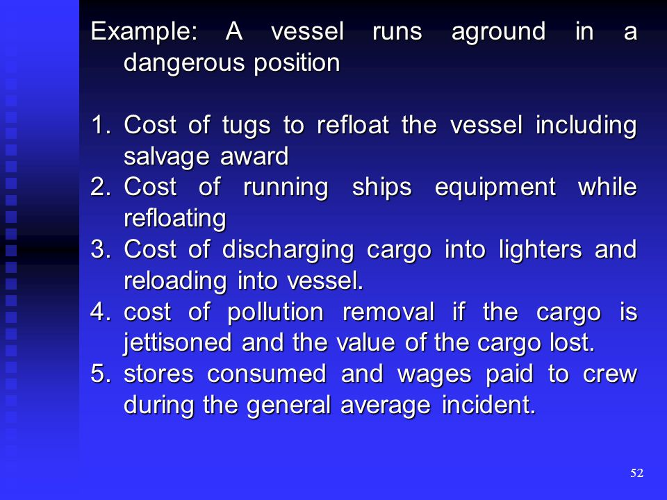51 Example: If fire is discovered onboard a laden vessel, the following items make up the general average loss: 1.Cost of damage caused by water or any other methods used to extinguish the fire 2.Cost of repair if the ships structure has to be altered to gain access to fire.