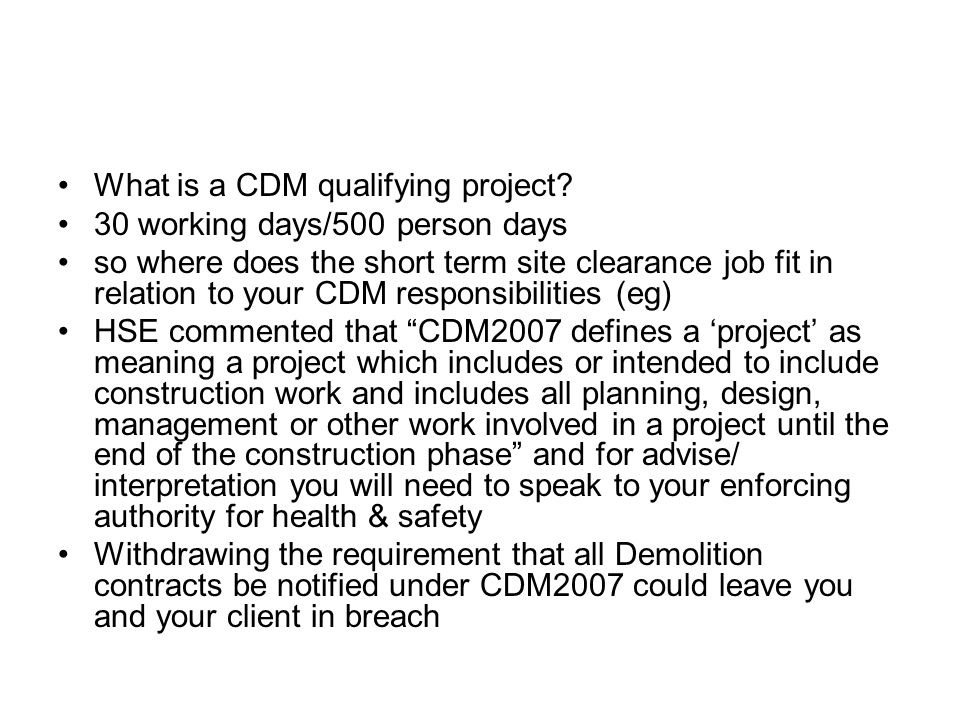 What is a CDM qualifying project.