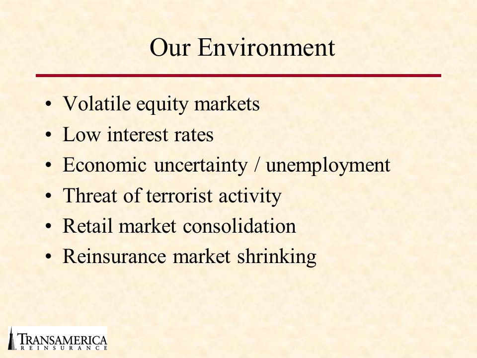 Our Environment Volatile equity markets Low interest rates Economic uncertainty / unemployment Threat of terrorist activity Retail market consolidation Reinsurance market shrinking