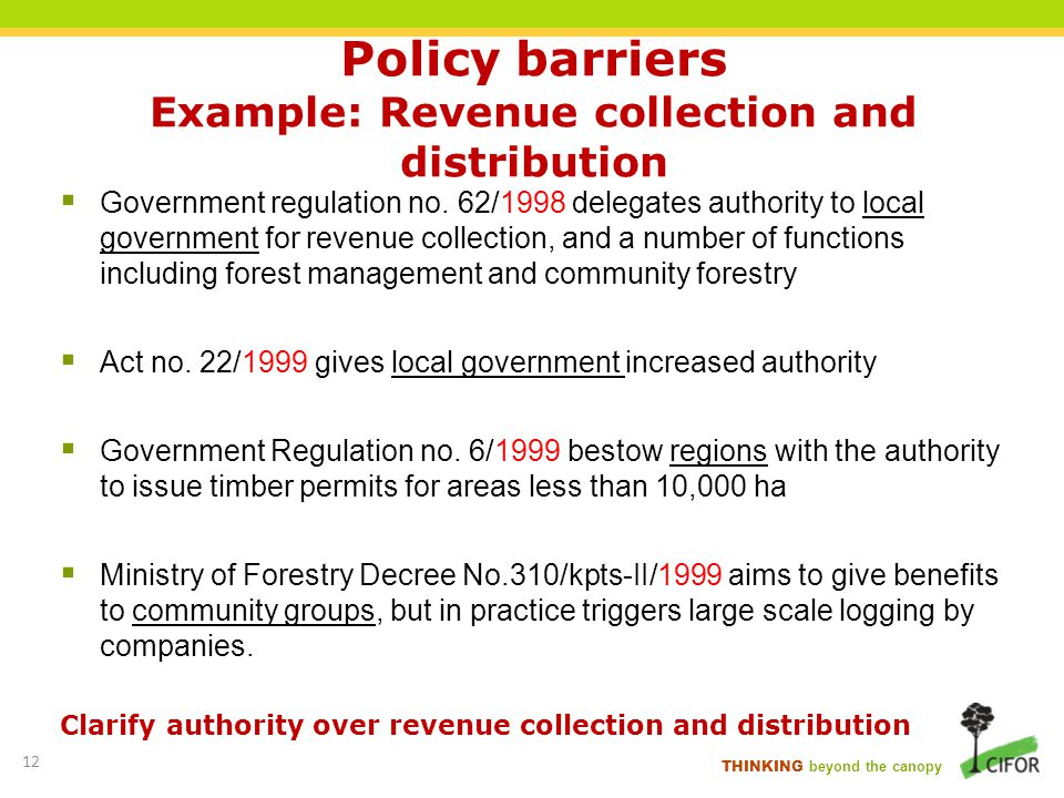 THINKING beyond the canopy Policy barriers Example: Revenue collection and distribution Government regulation no. 62/1998 delegates authority to local