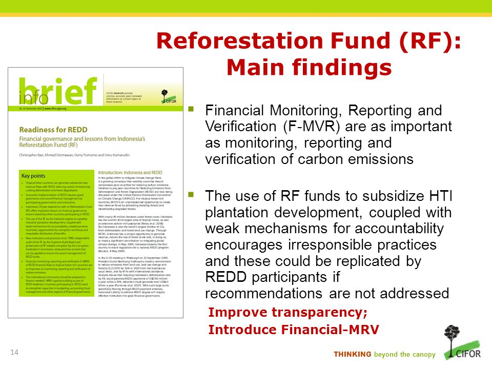 THINKING beyond the canopy Reforestation Fund (RF): Main findings Financial Monitoring, Reporting and Verification (F-MVR) are as important as monitor