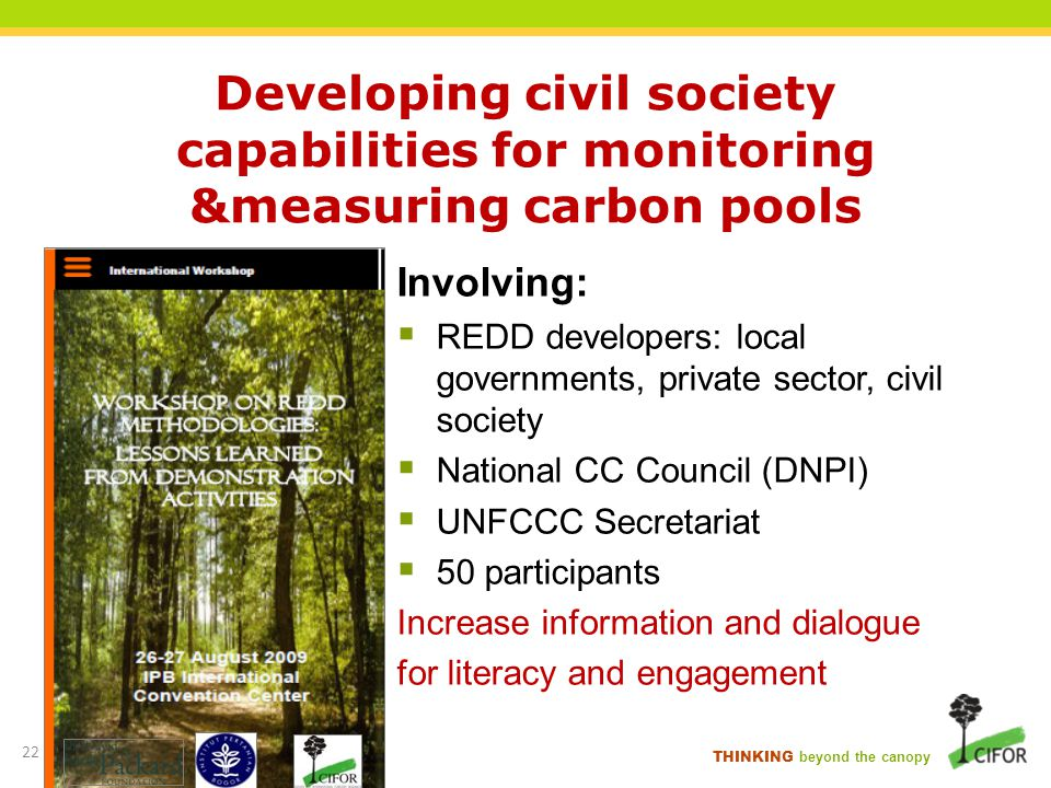 THINKING beyond the canopy Developing civil society capabilities for monitoring &measuring carbon pools Involving: REDD developers: local governments,