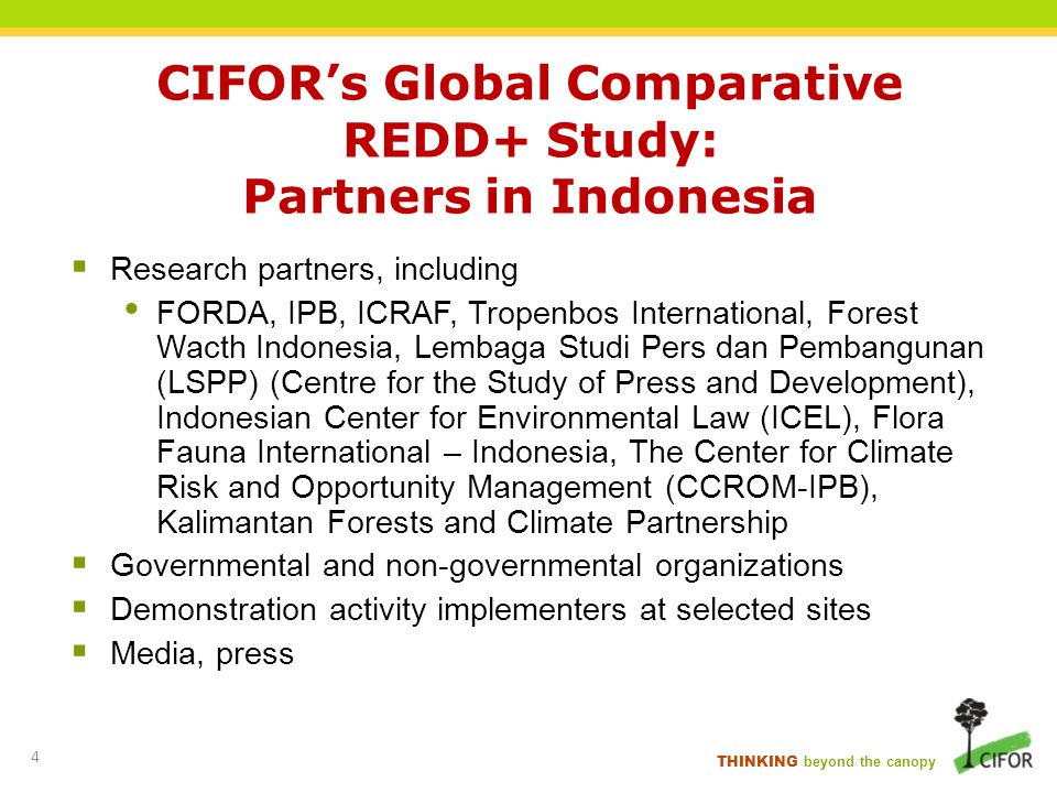 THINKING beyond the canopy CIFORs Global Comparative REDD+ Study: Partners in Indonesia Research partners, including FORDA, IPB, ICRAF, Tropenbos Inte