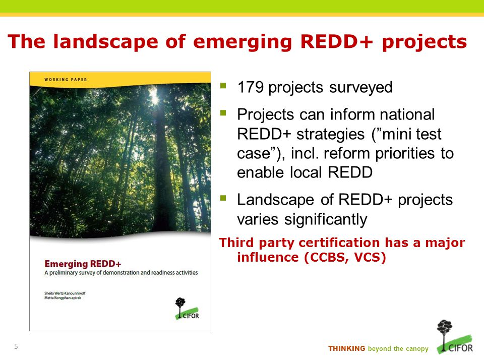 THINKING beyond the canopy 179 projects surveyed Projects can inform national REDD+ strategies (mini test case), incl. reform priorities to enable loc
