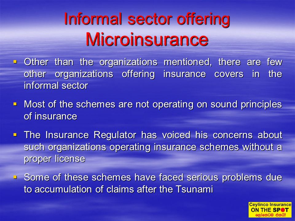 Other than the organizations mentioned, there are few other organizations offering insurance covers in the informal sector Other than the organization