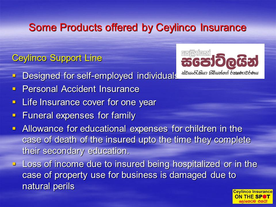 Some Products offered by Ceylinco Insurance Ceylinco Support Line Designed for self-employed individuals Designed for self-employed individuals Person