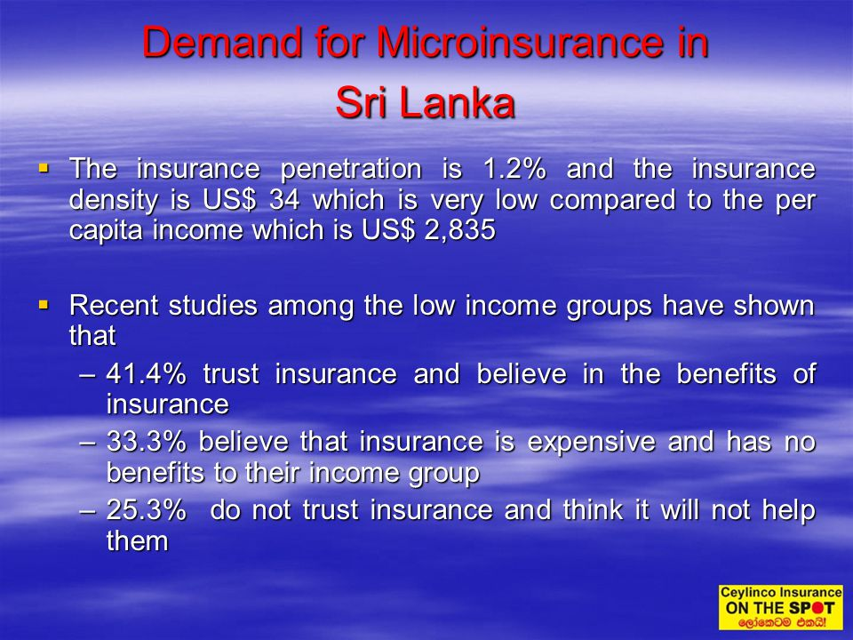 The insurance penetration is 1.2% and the insurance density is US$ 34 which is very low compared to the per capita income which is US$ 2,835 The insur