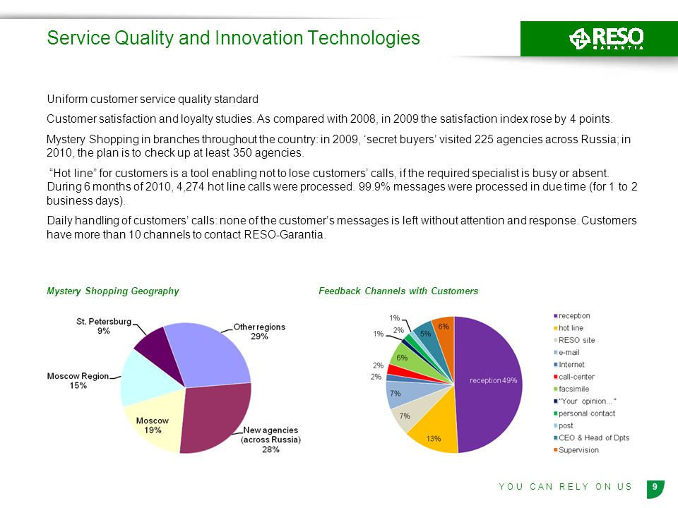 9Y O U C A N R E L Y O N U S Service Quality and Innovation Technologies Uniform customer service quality standard Customer satisfaction and loyalty studies.