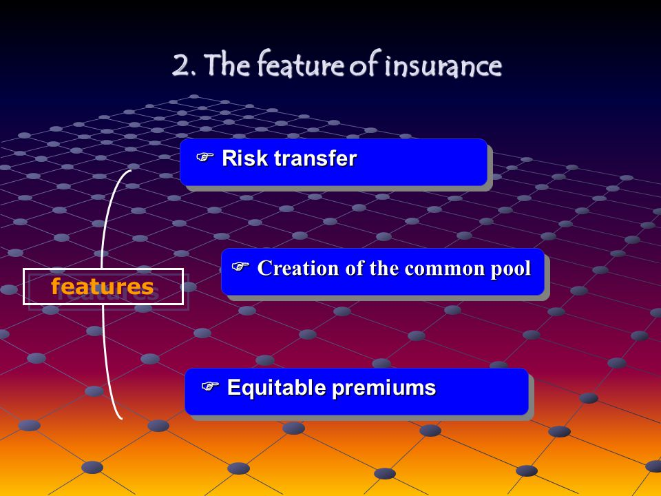 features Risk transfer Risk transfer Creation of the common pool Creation of the common pool 2.