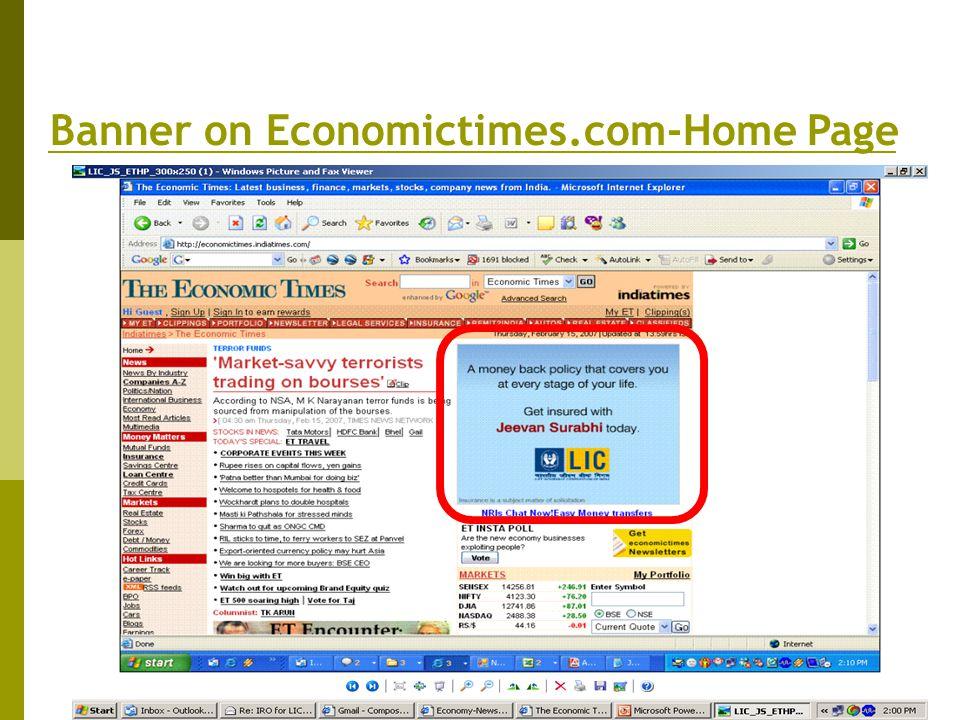 Banner on Economictimes.com-Home Page