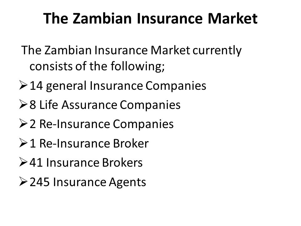The Zambian Insurance Market The Zambian Insurance Market currently consists of the following; 14 general Insurance Companies 8 Life Assurance Compani