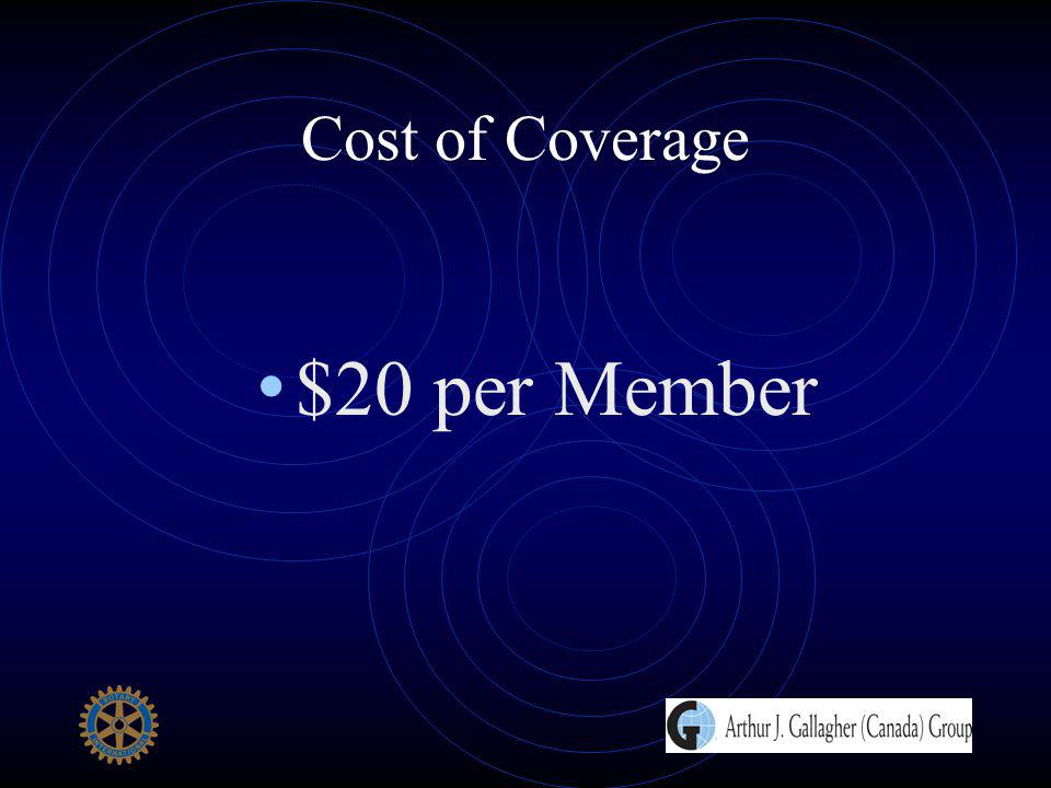 Cost of Coverage $20 per Member