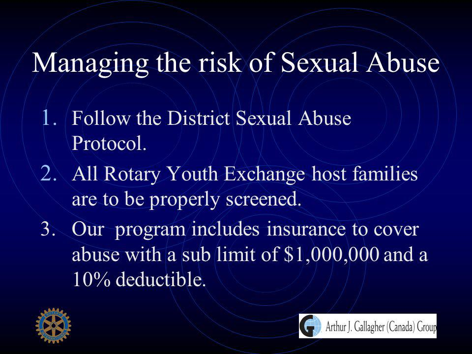 Managing the risk of Sexual Abuse 1. Follow the District Sexual Abuse Protocol. 2. All Rotary Youth Exchange host families are to be properly screened