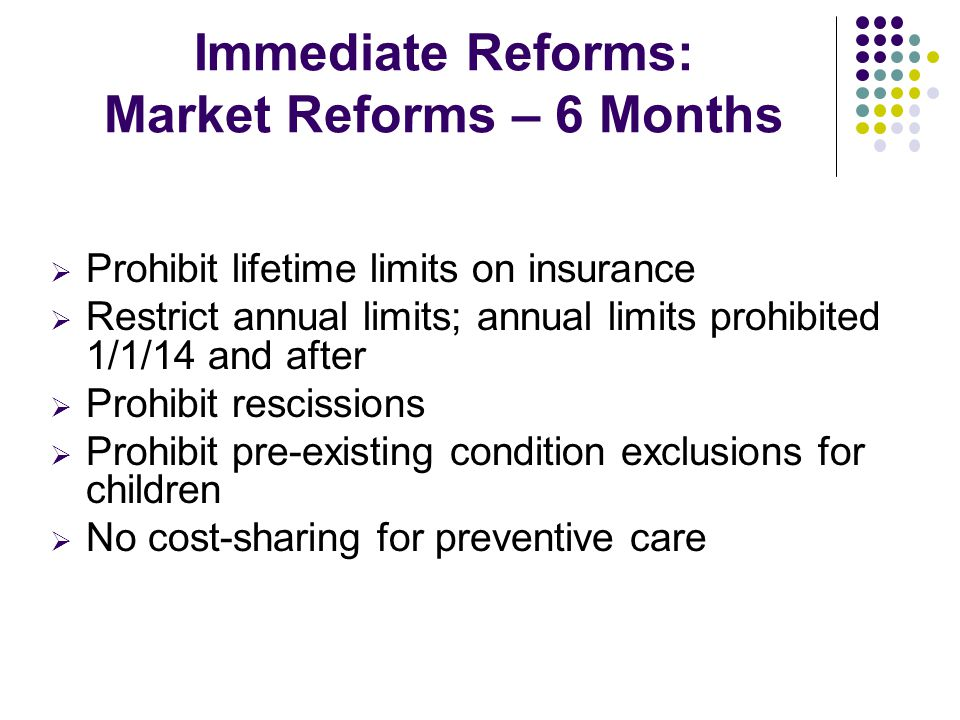 Key Components of HCR: Individual Mandate Starting 2014, people will be required to have minimum essential coverage, which can be qualifying employer coverage, grandfathered plans, Medicaid, Medicare, CHIP, VA coverage, etc.