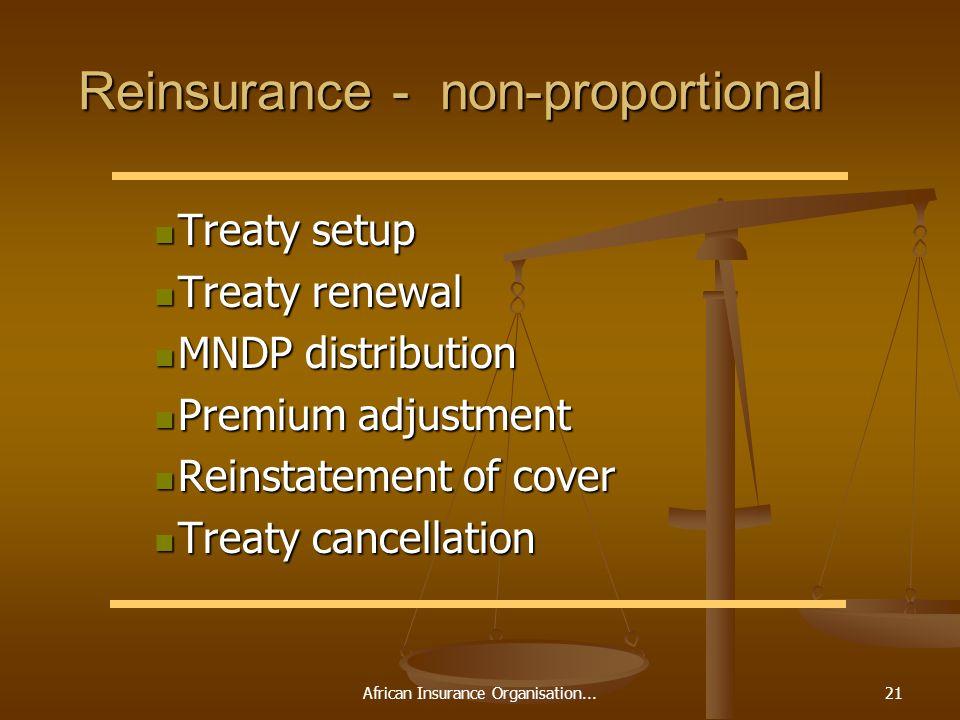 African Insurance Organisation...21 Reinsurance - non-proportional Treaty setup Treaty setup Treaty renewal Treaty renewal MNDP distribution MNDP dist