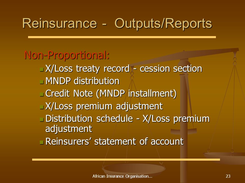 African Insurance Organisation...23 Reinsurance - Outputs/Reports Non-Proportional: Non-Proportional: X/Loss treaty record - cession section X/Loss tr