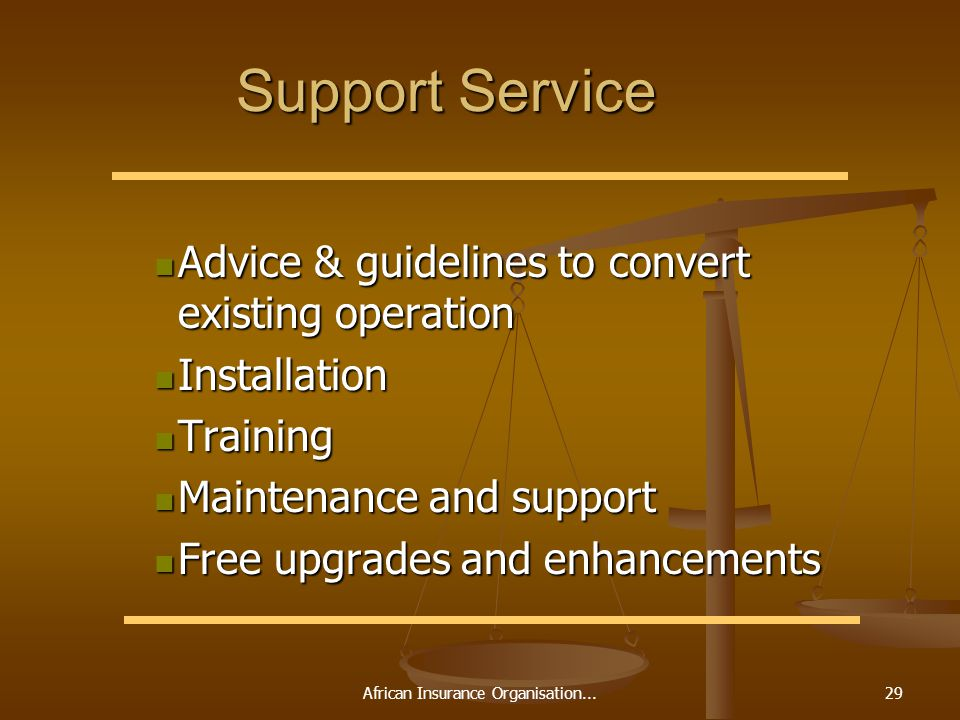 African Insurance Organisation...29 Support Service Advice & guidelines to convert existing operation Advice & guidelines to convert existing operation Installation Installation Training Training Maintenance and support Maintenance and support Free upgrades and enhancements Free upgrades and enhancements