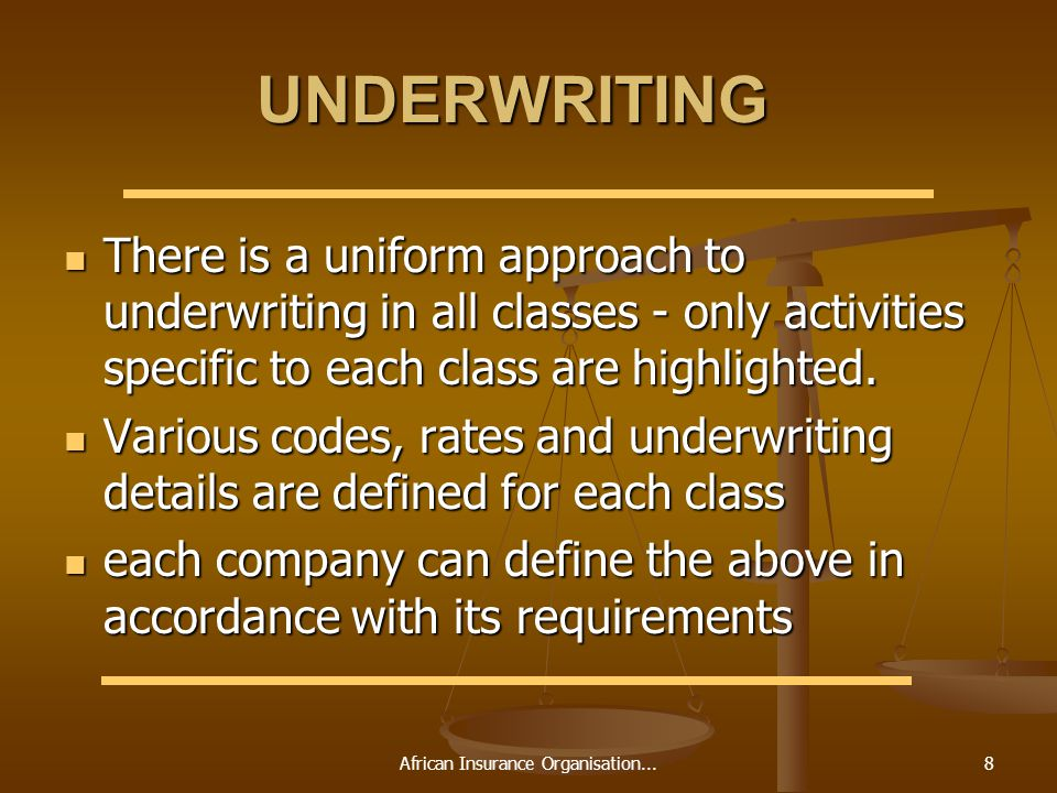 African Insurance Organisation...8 UNDERWRITING There is a uniform approach to underwriting in all classes - only activities specific to each class are highlighted.